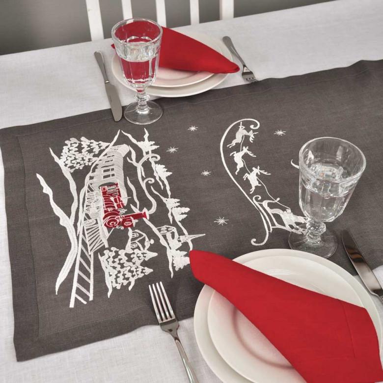 Доріжка CHRISTMAS STORY 140*45 (графіт льон)