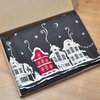 Салфетка центральная Christmas story 90*90см (графит лён)