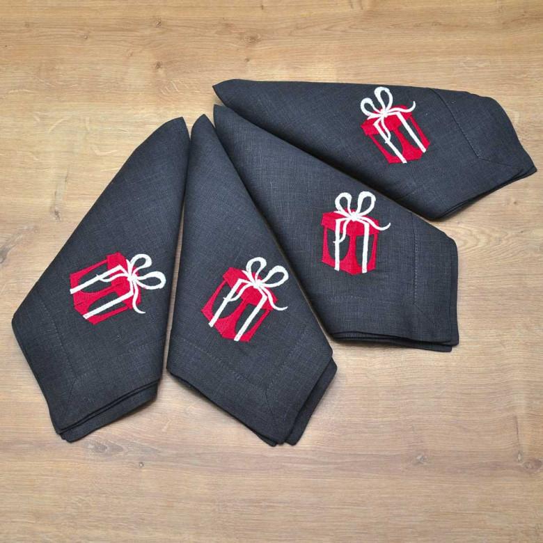 Набір CHRISTMAS STORY - 4 серветки 40*40 (графіт льон)