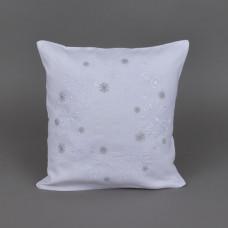 Наволочка декоративна СНІЖИНКИ (білий льон)