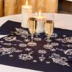 Набір столовий Ліхтарі: центральна серветка 65*65см та 4 серветки 40*40см (синій льон)