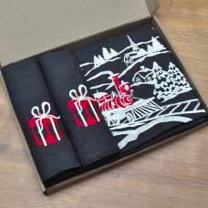 Набір CHRISTMAS STORY 140*45 та 4 серветки (графіт льон)