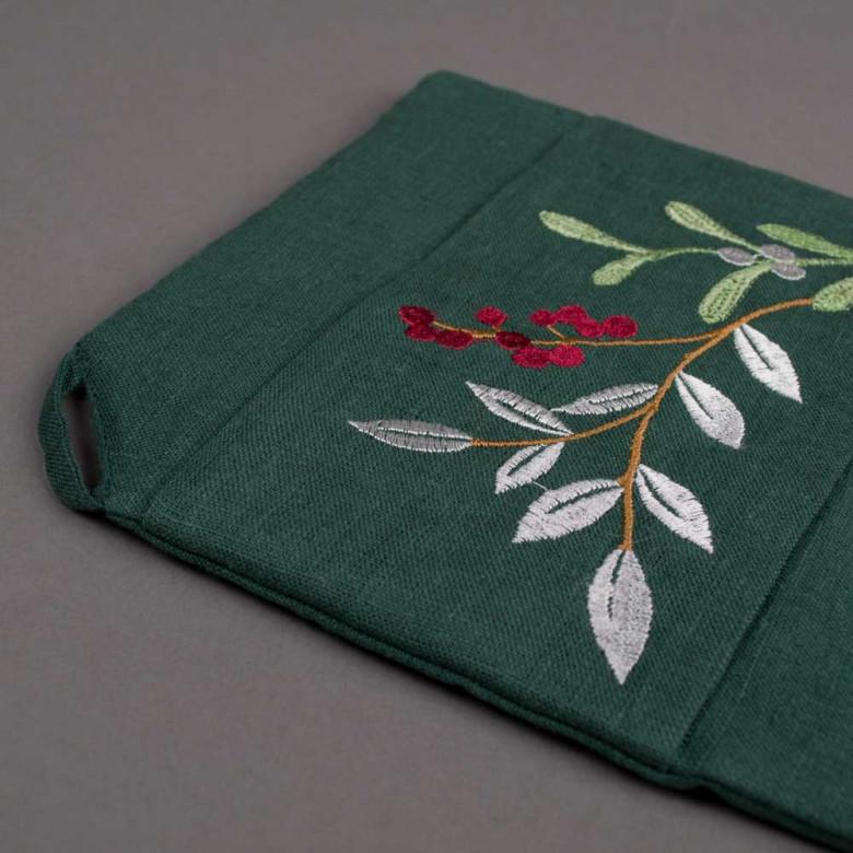 Прихватка MERRY CHRISTMAS (зелений льон)