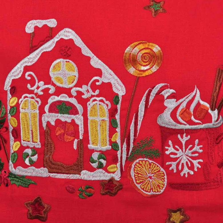 Наволочка декоративна СМАК РІЗДВА будинок (червоний льон)
