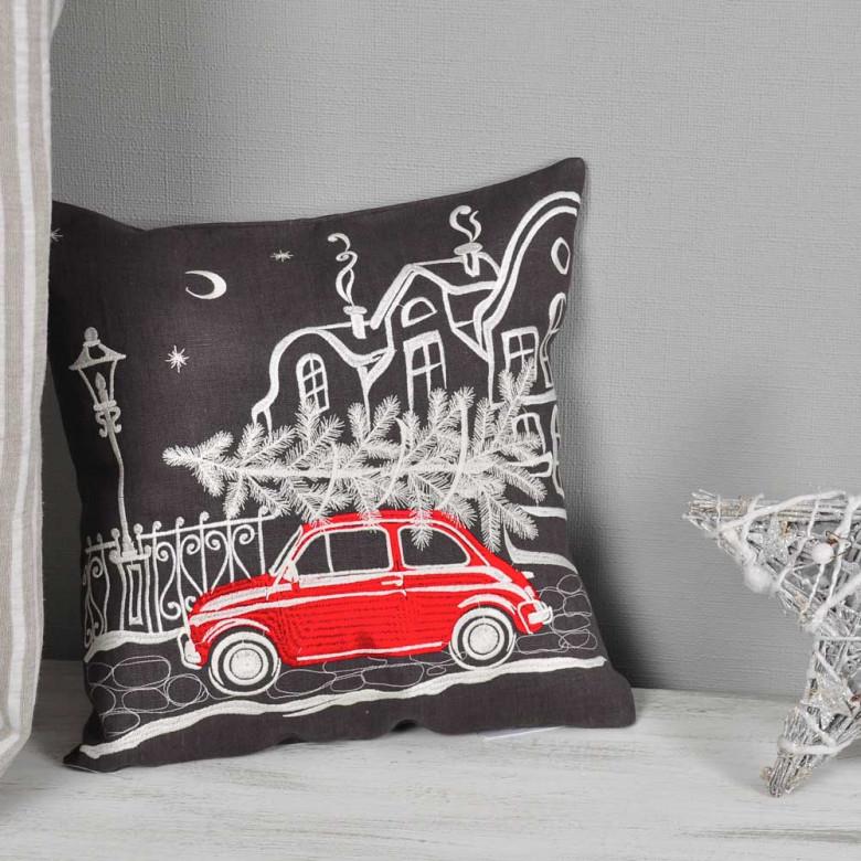 Наволочка декоративна CHRISTMAS STORY авто (графіт льон)