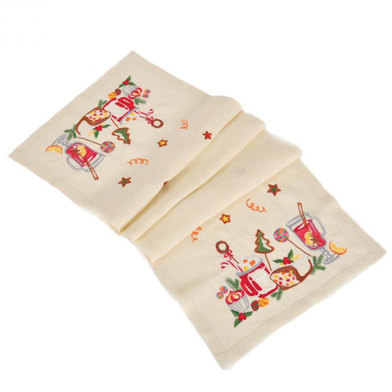 Набір СМАК РІЗДВА 140*45 та 4 серветки (молочний льон)