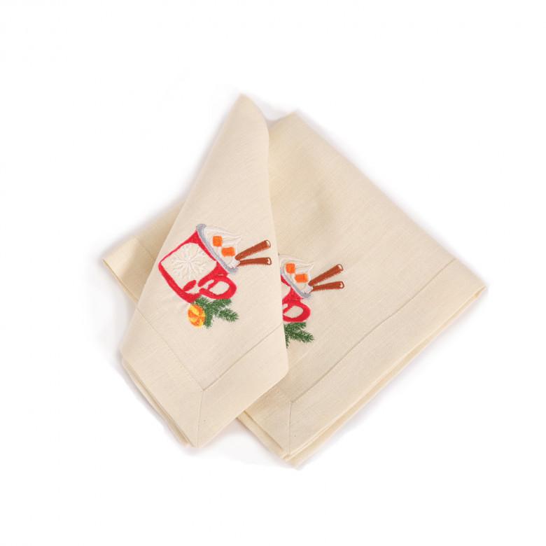 Набір СМАК РІЗДВА 65*65 та 4 серветки (молочний льон)