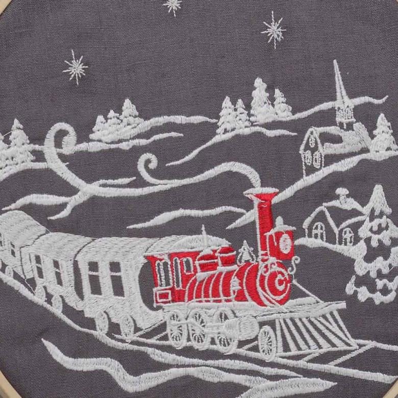 Картинка вишита CHRISTMAS STORY потяг в п'яльцях d-29
