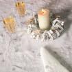 Набір Сніжинки 90*90 та 4 серветки (білий льон)