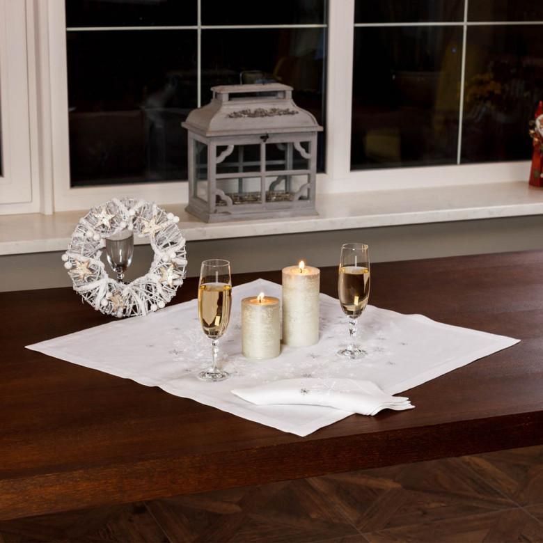 Набір Сніжинки 65*65 та 4 серветки (білий льон)