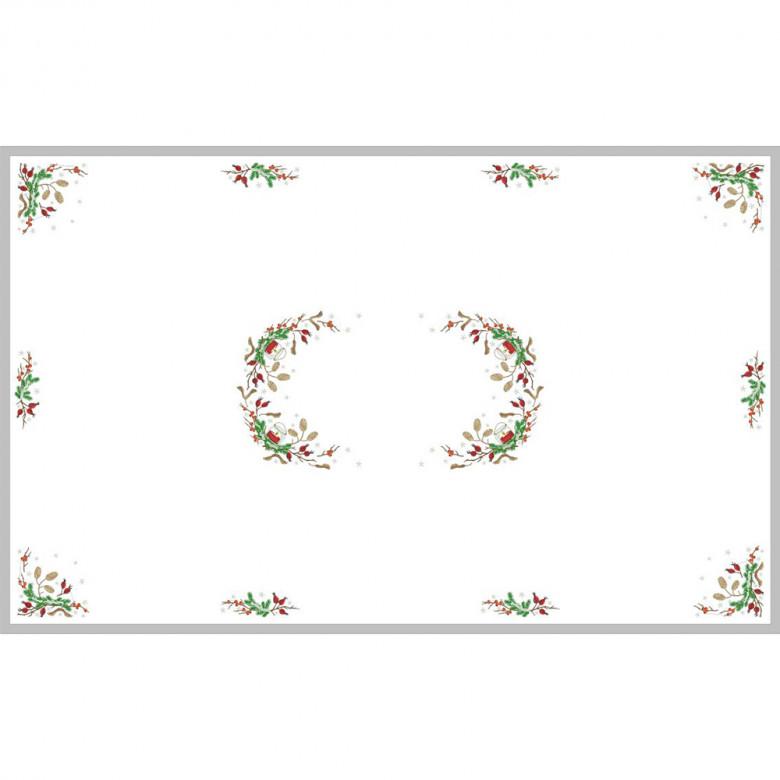 Вишита новорічна скатертина ШИПШИНА 240*140 з серветками (10-12 персон)