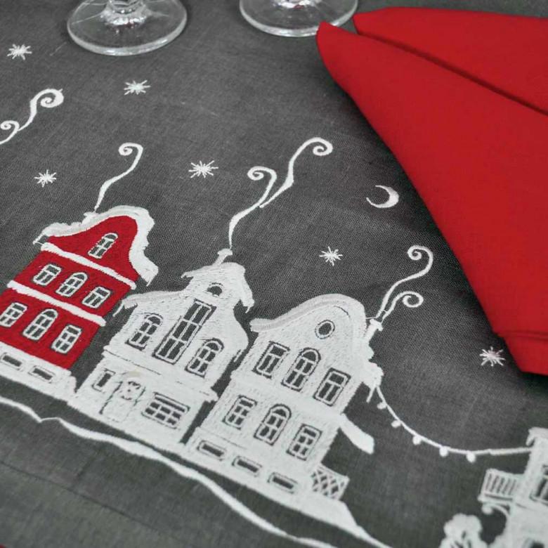 Набір CHRISTMAS STORY 90*90 та 4 серветки (графіт та червоний льон)
