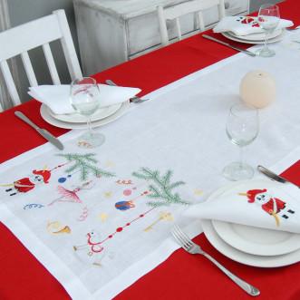 Набор столовый Щелкунчик: дорожка 140*40см и 2+2 салфетки 40*40см (белый лён)
