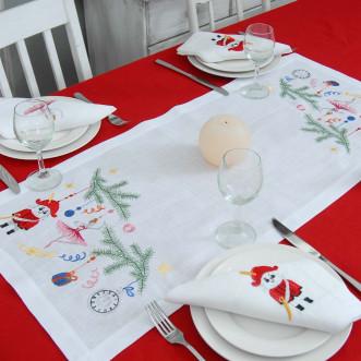Набор столовый Щелкунчик: дорожка 90*40см и 2+2 салфетки 40*40см (белый лён)