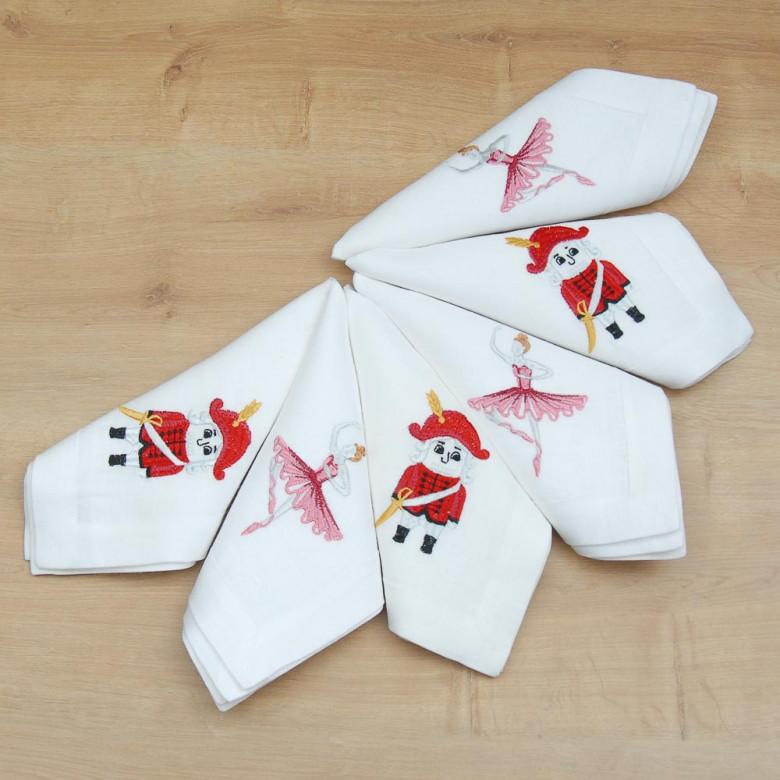 Набір серветок на стіл: 3+3 серветки Лускунчик 40*40см (білий льон)