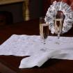 Набір столовий Сніжинки: доріжка 90*40см та 4 серветки 40*40см (білий льон)