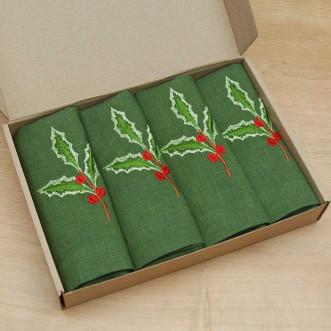 Набор салфеток на стол: 4 салфетки Merry Christmas 40*40см (зеленый лён)