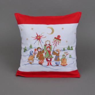 Наволочка декоративна Коляда (червоний льон)
