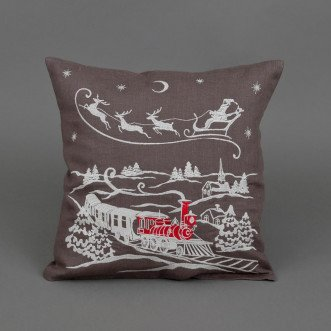 Наволочка декоративна CHRISTMAS STORY потяг (графіт льон)