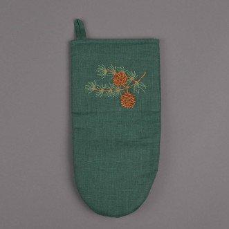 Рукавиця для кухні MERRY CHRISTMAS (зелений льон)