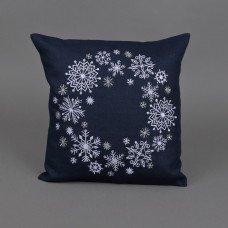 Наволочка декоративна Сніжинки (синій льон)