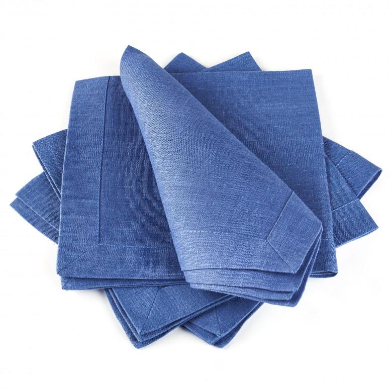 Набір СНІЖИНКИ 90*90 та 4 серветки (білий та синій льон)
