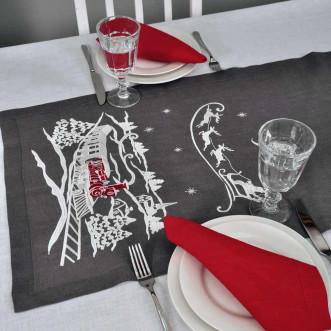 Набір столовий Christmas story: доріжка 140*45см та 4 серветки 40*40см (графіт та червоний льон)