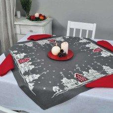Набір столовий Christmas story: центральна серветка 90*90см та 4 серветки 40*40см (графіт та червоний льон)