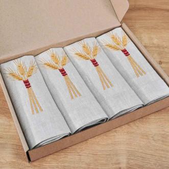 Набір серветок на стіл: 4 серветки Дідух 40*40см (сірий льон)