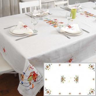 Лляна скатертина з вишивкою Коляда на 8-12 персон 240см (білий льон)