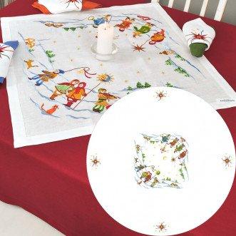 Скатертина з вишивкою на круглий стіл Коляда на 4 персони d-147см (білий льон)