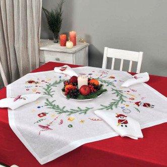 Набір столовий Лускунчик: центральна серветка 90*90см та 2+2 серветки 40*40см (білий льон)