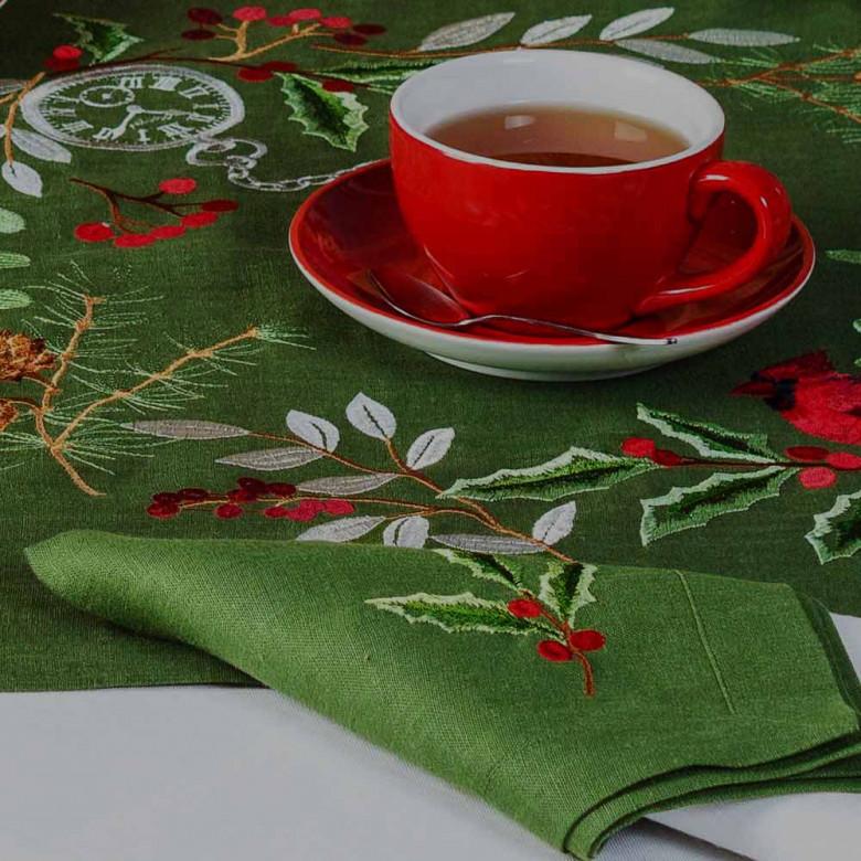 Набір серветок на стіл: 2 серветки Merry Christmas 40*40см (зелений льон)