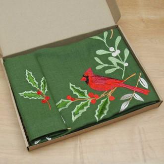 Набір столовий Merry Christmas: центральна серветка 65*65см та 4 серветки 40*40см (зелений льон)