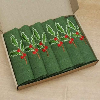 Набір серветок на стіл: 6 серветок Merry Christmas 40*40см (зелений льон)