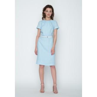 Плаття - напівсонце без рукавів р.42 + пояс 90см (блакитний льон) мод.28152