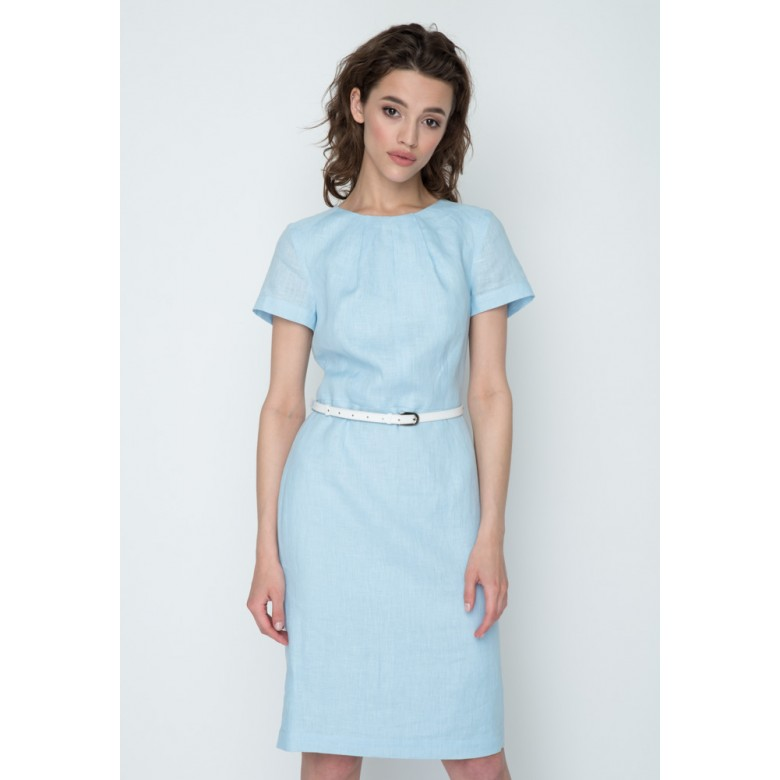 Плаття - напівсонце без рукавів р.40 + пояс 85см (блакитний льон) мод.28152