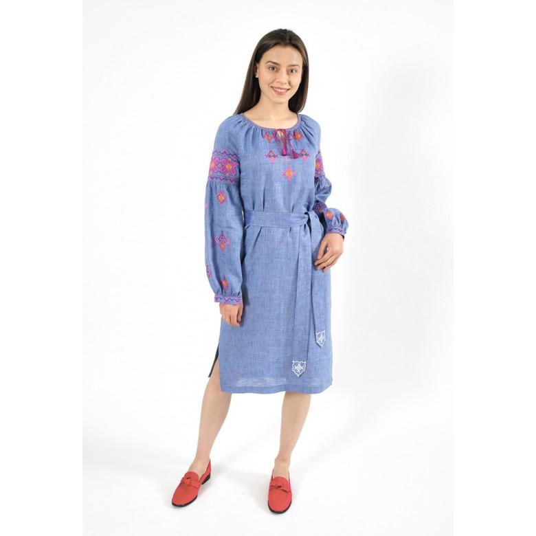Плаття НИЗИНКА кольорова р.42 збірка з поясом (синій меланж льон) мод.28235_multi