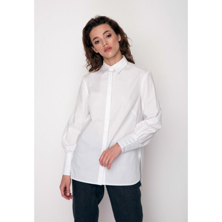 Блуза з вишитими манжетами р.40 (біла сорочкова) мод.29037
