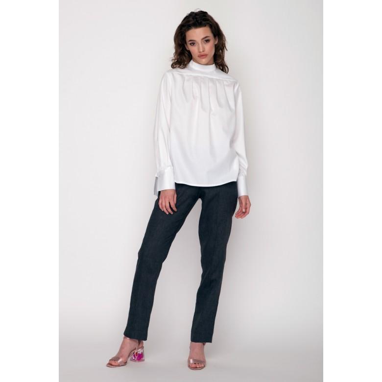 Блуза зі стійкою р.40 (біла сорочкова) мод.29174