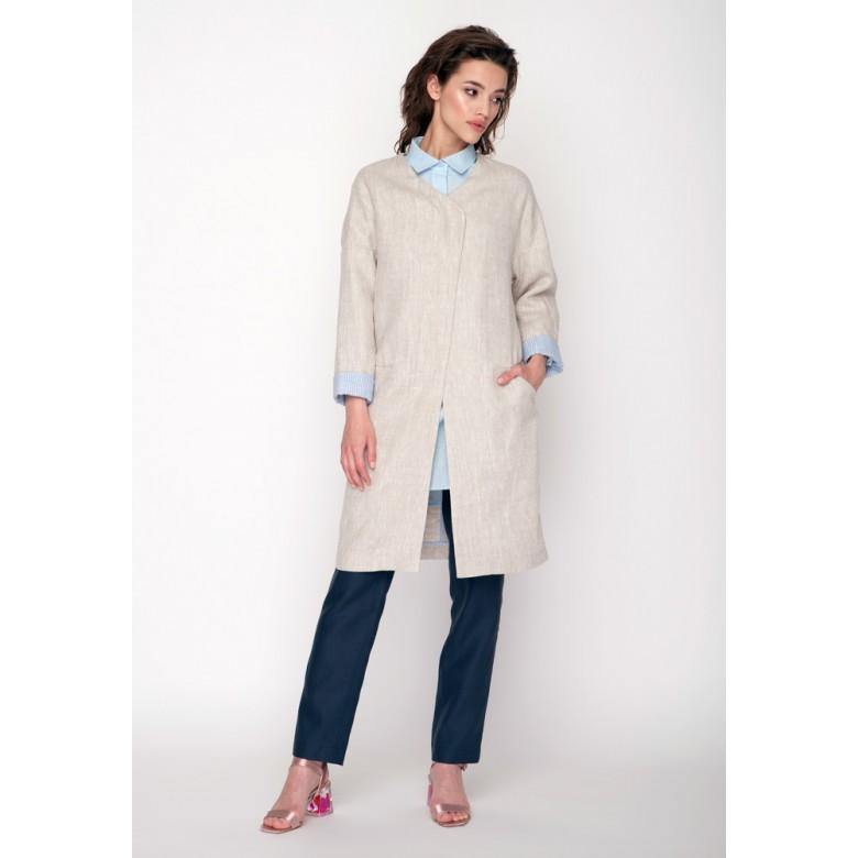 """Пальто жіноче """"ЛІТНЄ"""" р.48-50 (сірий льон """"саржа"""") мод.29874"""