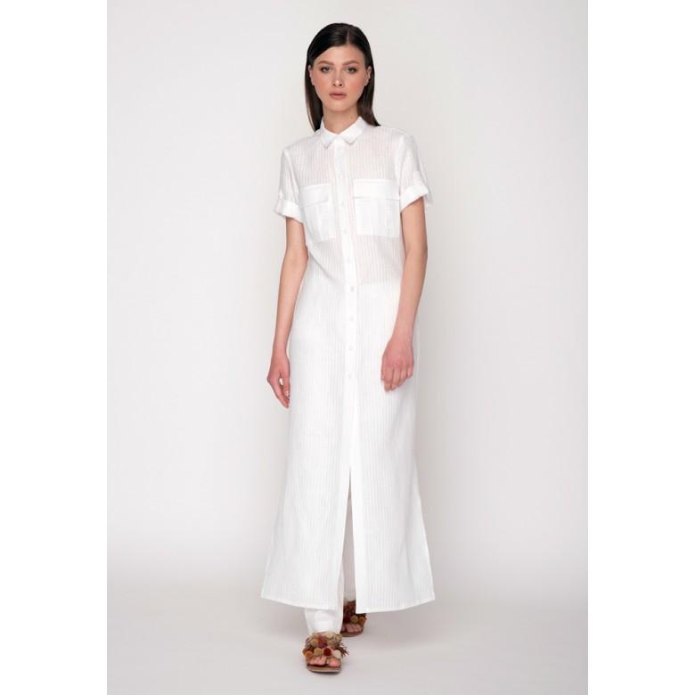 Сорочка довга р.44 (білі полоси льон) мод.29990