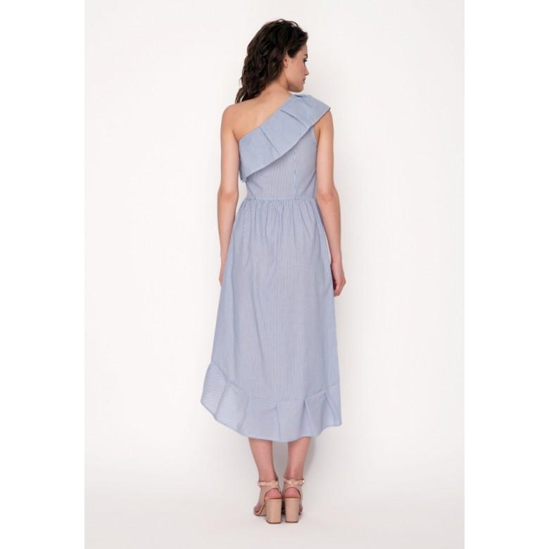 Сарафан з асиметричним воланом р.42 (біло-блакитні смуги) мод.29993