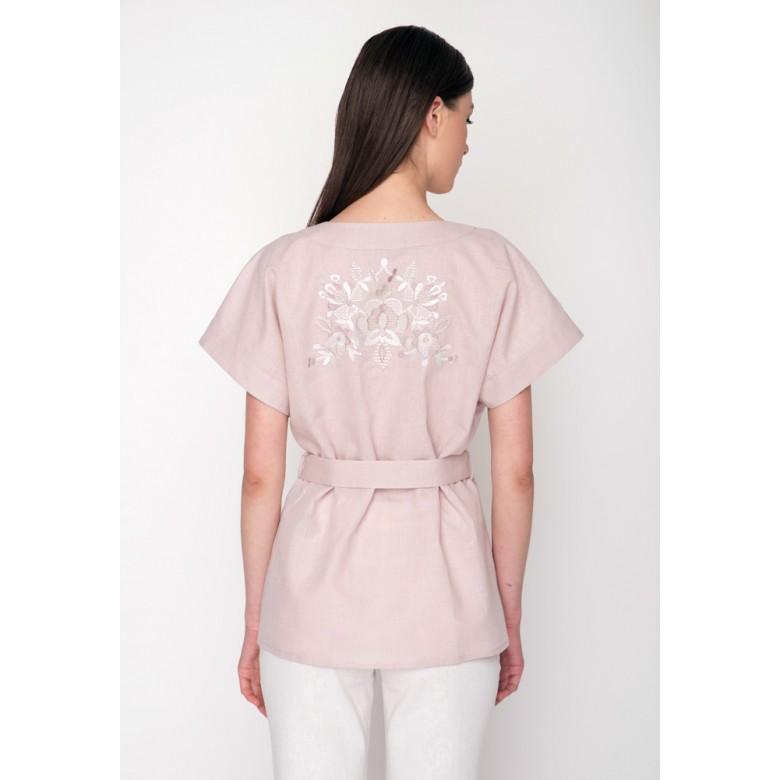 Блуза КОЗАЦЬКИЙ РУШНИК №13  р.42 (лавандовий льон) мод.30003