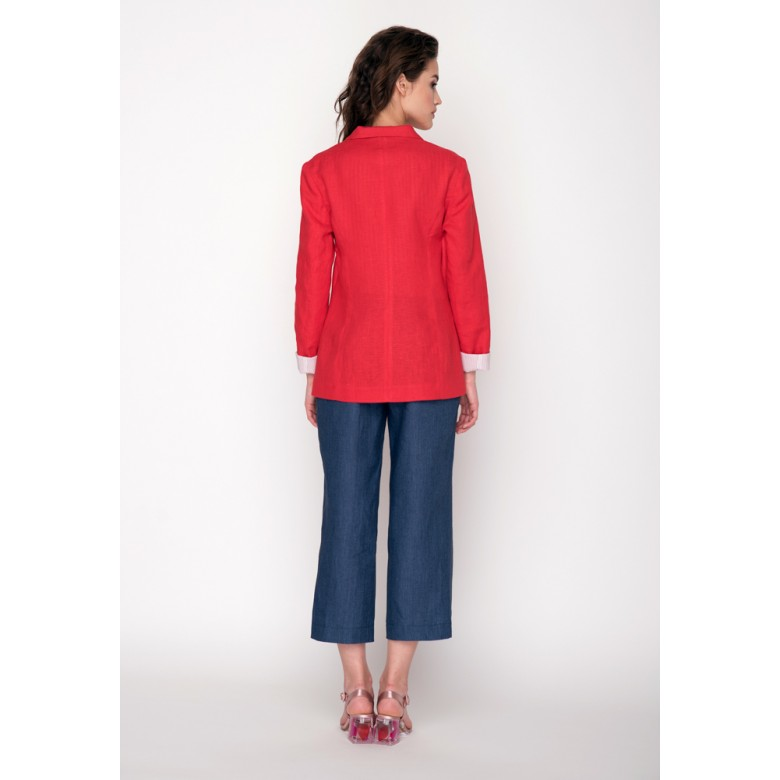 Жакет короткий літній р.42 (червоний льон) мод.30063