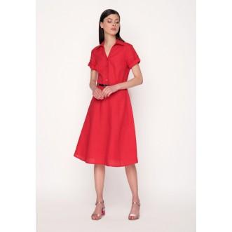 Плаття - трапеція р.42 + пояс 90см (червоний льон) мод.30122