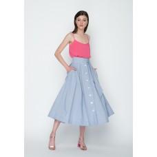 Спідниця Міді на гудзиках р.42 (біло-блакитні смуги) мод.30405