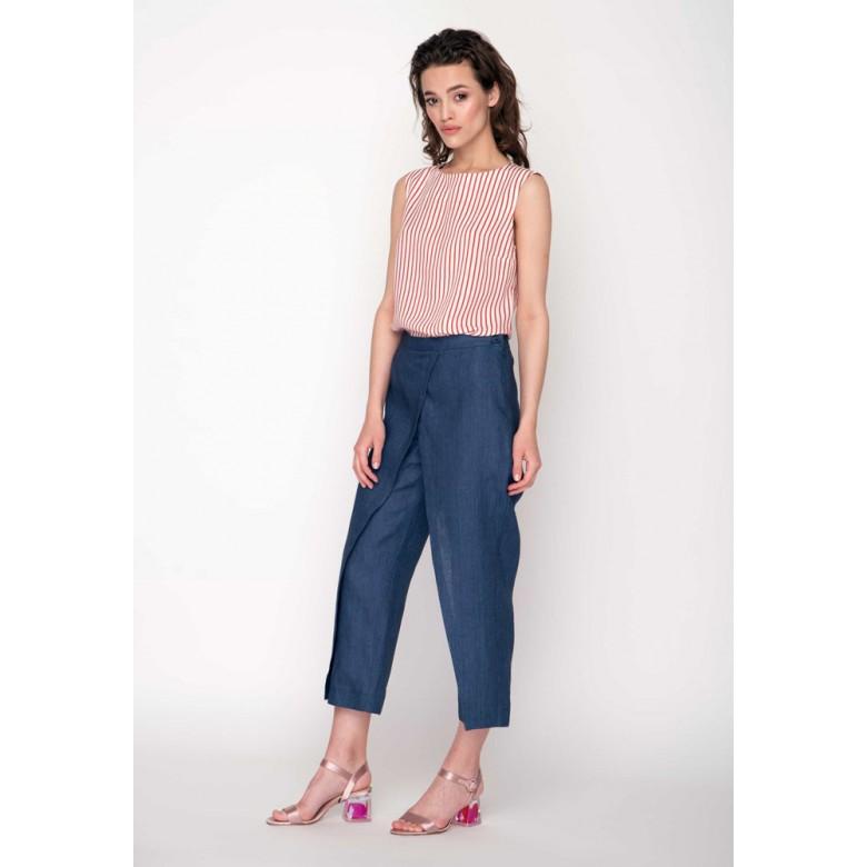 Брюки жіночі КЮЛОТИ довжина 7/8 р.42 (синій льон джинс) мод.30293