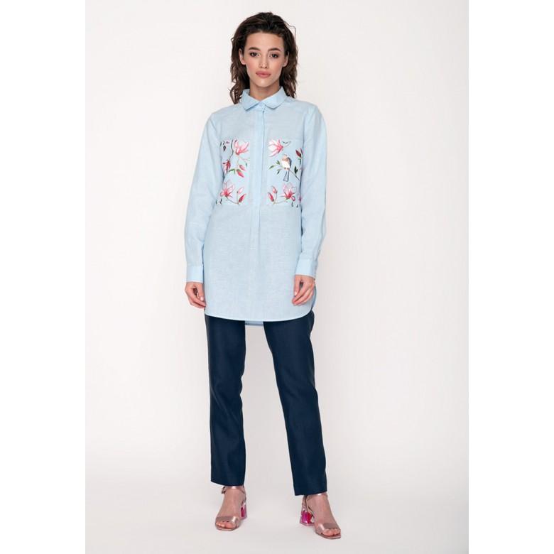 Сорочка МАГНОЛІЯ р.42 (бавовна-льон блакитний) мод.30387