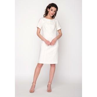 Плаття ГРАЦІЯ з короткими рукавами на підкладі р.42 (молочний льон) мод.30412